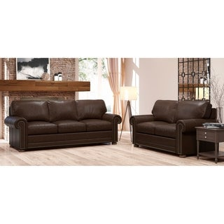 Made to Order Mondial 100% Top Grain Leather Sofa and Loveseat Set