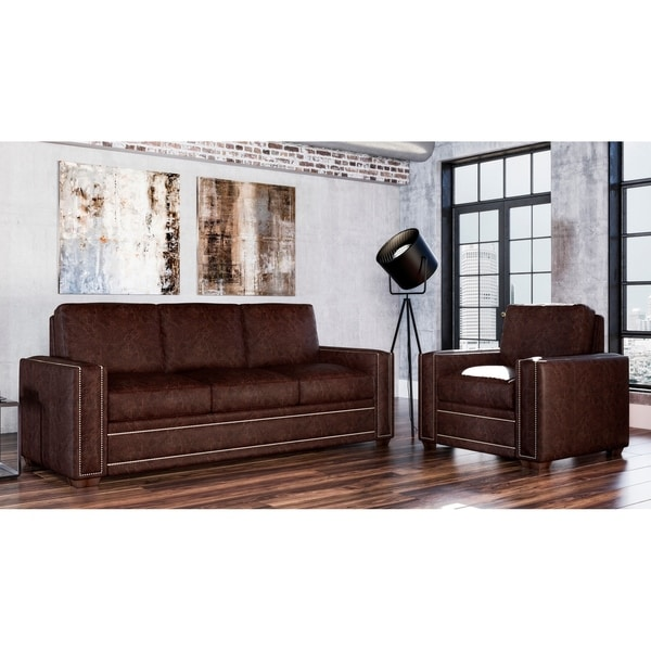 Made to Order Evelyn 100% Top Grain Leather Sofa and Chair Set
