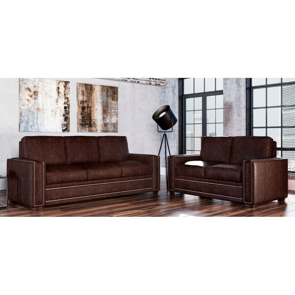 Made to Order Evelyn 100% Top Grain Leather Sofa and Loveseat Set