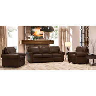 Made to Order Lansdown 100% Top Grain Leather Sofa and Two Chairs Set