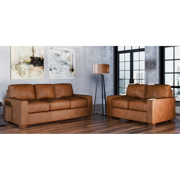 Made to Order Maxim 100% Top Grain Leather Sofa and Loveseat Set