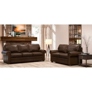 Made to Order Lansdown 100% Top Grain Leather Sofa and Loveseat Set