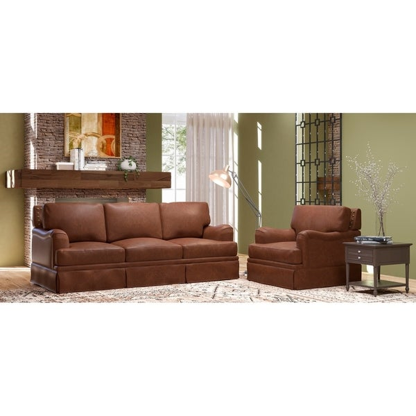 Made to Order Regent 100% Top Grain Leather Sofa and Chair Set