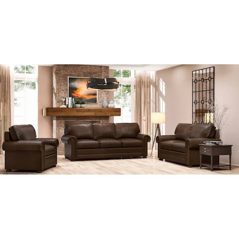Made to Order Lansdown 100% Top Grain Leather Sofa, Loveseat and Chair Set