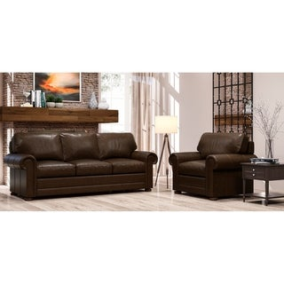 Made to Order Lansdown 100% Top Grain Leather Sofa and Chair Set