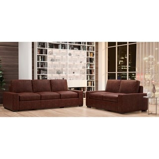 Made to Order Monza 100% Top Grain Leather Sofa and Loveseat Set