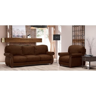 Made to Order Roxton 100% Top Grain Leather Sofa and Chair Set