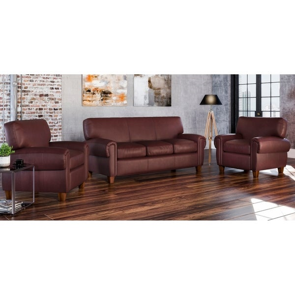 Made to Order Roma 100% Top Grain Leather Sofa and Two Chairs Set