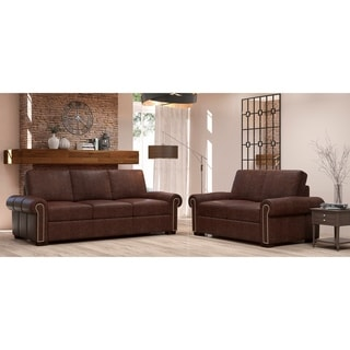 Made to Order Colchester 100% Top Grain Leather Sofa and Loveseat Set