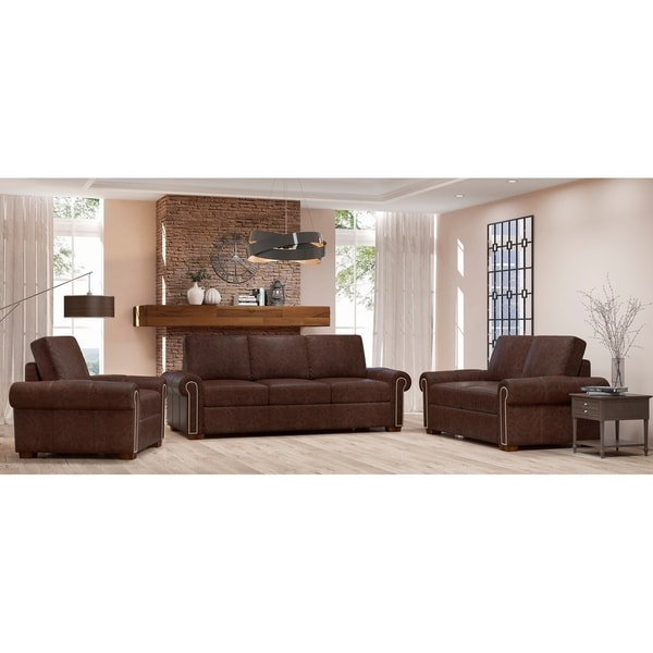 Made to Order Colchester 100% Top Grain Leather Sofa, Loveseat and Chair Set