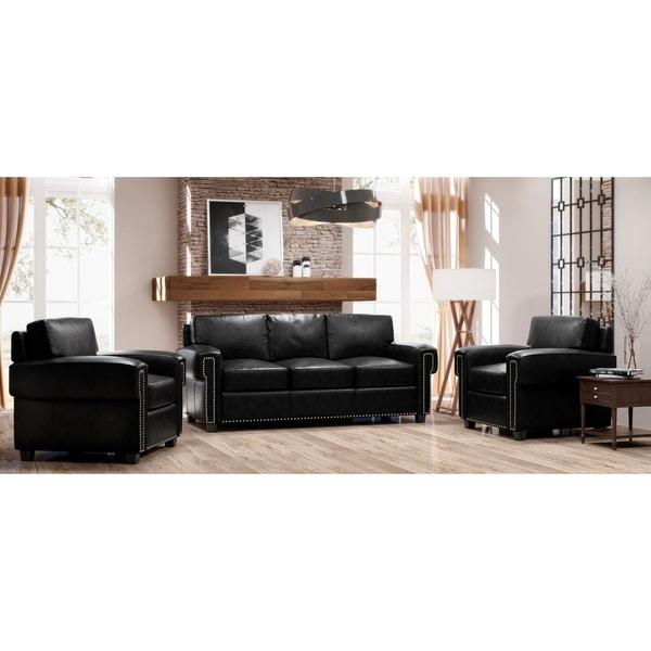 Made to Order Como 100% Top Grain Leather Sofa and Two Chairs Set
