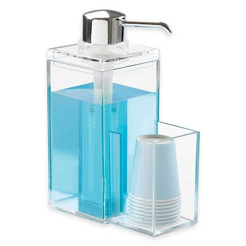 OnDisplay Luxury Acrylic Mouthwash/Soap Pump Dispenser w/Cup Holder