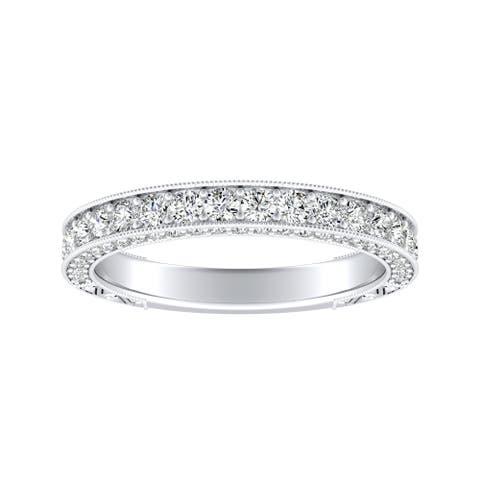 Auriya Platinum 3/4ctw Vintage Diamond Wedding Ring