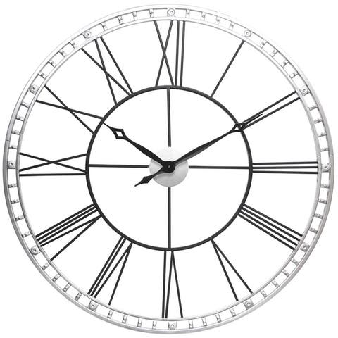 Copper Grove Athis Round Steel Wall Clock with Roman Numeral Indicators