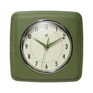 Square Retro 50s Kitchen 9 inch Small Wall Clock by Infinity Instruments - N/A (Green)