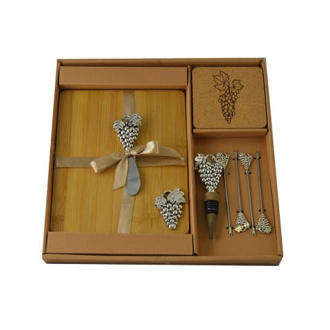Wine & Cheese 11-pc Charcuterie Board Set, Silver Grapes Picks & Stopper