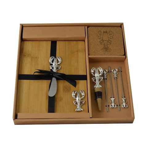 Wine & Cheese 11-pc Charcuterie Board Set, Silver Lobster Picks & Knife