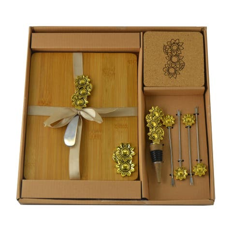 Wine & Cheese 11-pc Gold Daisy Charcuterie Set Board, Picks & Knife