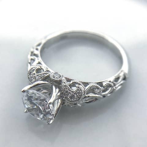 Lihara and Co. 18k White Gold 3/10 ct TDW White Diamond Semi-Mount Engagement Ring (G-H, VS1-VS2)