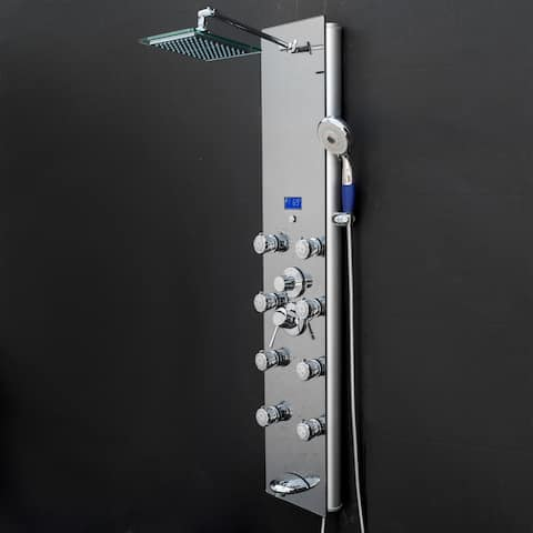 "AKDY 51"" Tempered Glass Rainfall Shower Massage Panel Tower & Temp Display"
