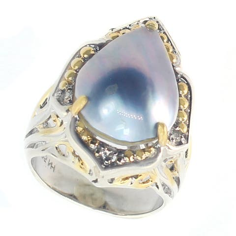 Michael Valitutti Palladium Silver Pear Shaped Mabe Peacock Pearl Ring