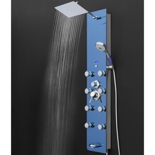 "AKDY 51"" Bathroom Blue Tempered Glass Shower Massage Panel & Temp Display"