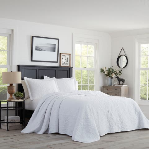 Stone Cottage Burch Embroidered White Bedspread Queen Size Set (As Is Item)