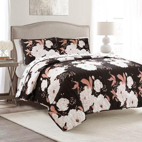 Lush Decor Zinnia Floral 3 Piece Quilt Set