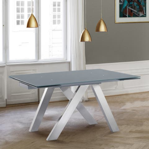 Armen Living Ace Contemporary Extension Dining Table with Brushed Stainless Steel and Grey Tempered Glass Top