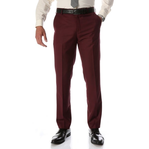 Ferrecci Men's Halo Burgundy Slim Fit Flat-Front Dress Pants. Opens flyout.