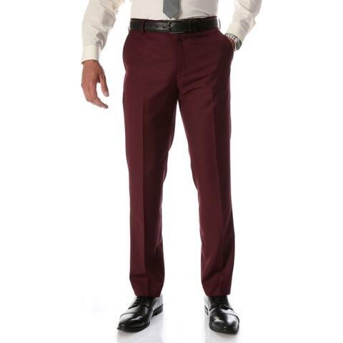 Ferrecci Men's Halo Burgundy Slim Fit Flat-Front Dress Pants