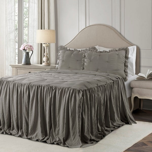 The Gray Barn Lazy Acres Pintuck Ruffle Skirt Bedspread Set. Opens flyout.