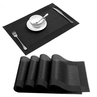 "Woven Vinyl Insulation Placemat Table Mats Set of 4 Black 18"" x 12"""
