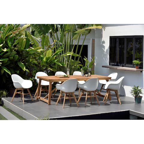 Burleigh Teak Rectangular 9-Piece Patio Dining Set with White Chairs by Amazonia