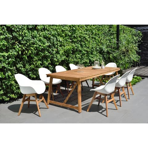 Amazonia Wood Travis Rectangular 9-Piece Patio Dining Set