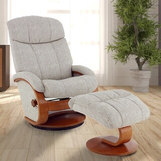 Copper Grove Laurent Linen and Steel Recliner with Ottoman