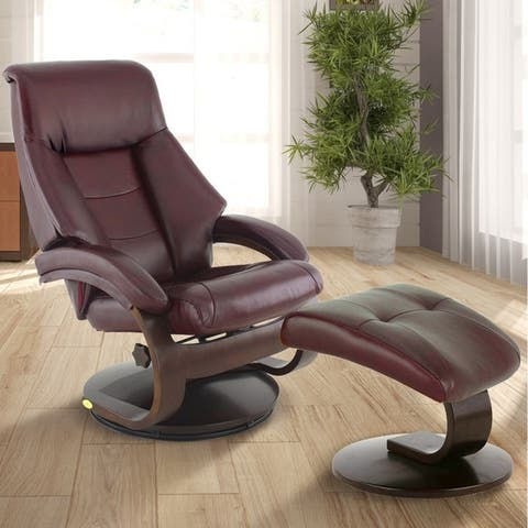 Copper Grove Laurent Top-grain Leather Recliner with Ottoman