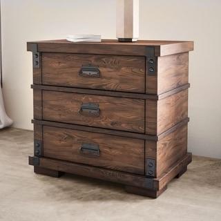 Abbyson Kingsley Three Drawer Vintage Oak Wood Nightstand
