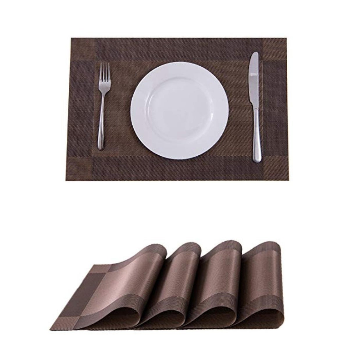 PVC Heat and Stain Resistant Place Mats Set of 4 Dark Brown 18 x 12