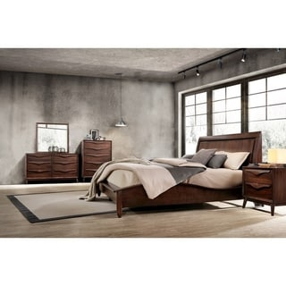 Abbyson Alton Brown Wood Mid-Century 5 Piece Bedroom Set