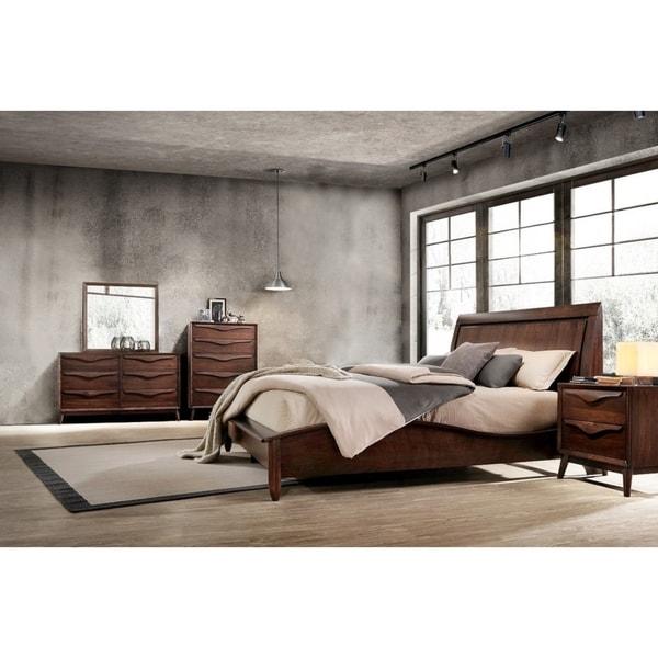 Abbyson Alton Brown Wood Mid-Century 5 Piece Bedroom Set