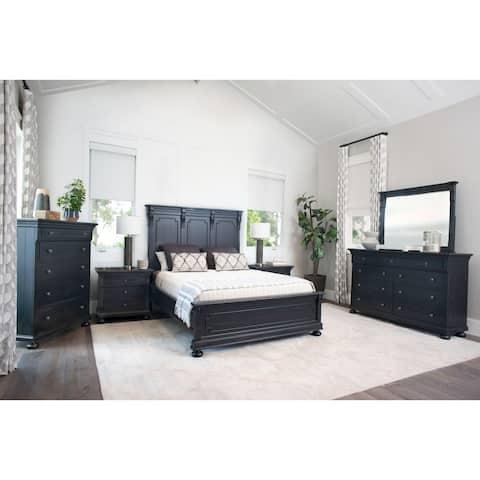 Abbyson Hendrick Distressed Black Wood 6 Piece Bedroom Set