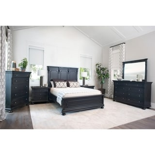 Abbyson Hendrick Distressed Black Wood 6 Piece Bedroom Set