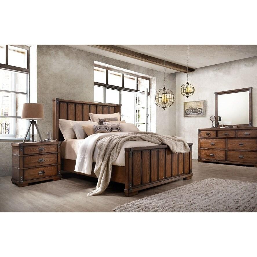 Abbyson Kingsley Vintage Oak Wood 6 Piece Bedroom Set