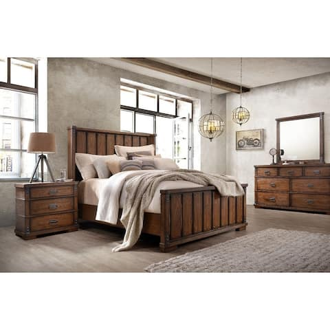Abbyson Kingsley Vintage Oak Wood 5 Piece Bedroom Set
