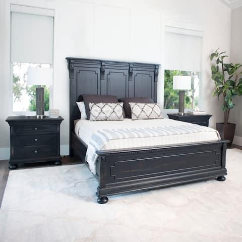 Abbyson Hendrick Distressed Black Wood 3 Piece Bedroom Set
