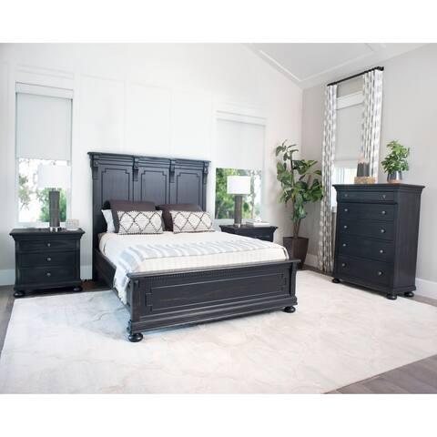 Abbyson Hendrick Distressed Black Wood 4 Piece Bedroom Set