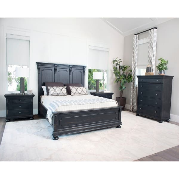 Shop Abbyson Hendrick Distressed Black Wood 4 Piece Bedroom ...