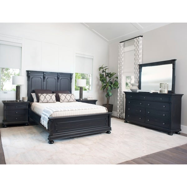 Abbyson Hendrick Distressed Black Wood 5 Piece Bedroom Set