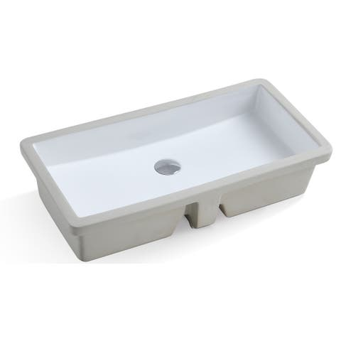 Ultra Large ARIEL 27.8 Inch Rectangular Undermount Vitreous Ceramic Lavatory Vanity Bathroom Sink Pure White